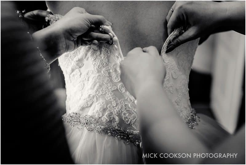 fastening a wedding dress in lancashire
