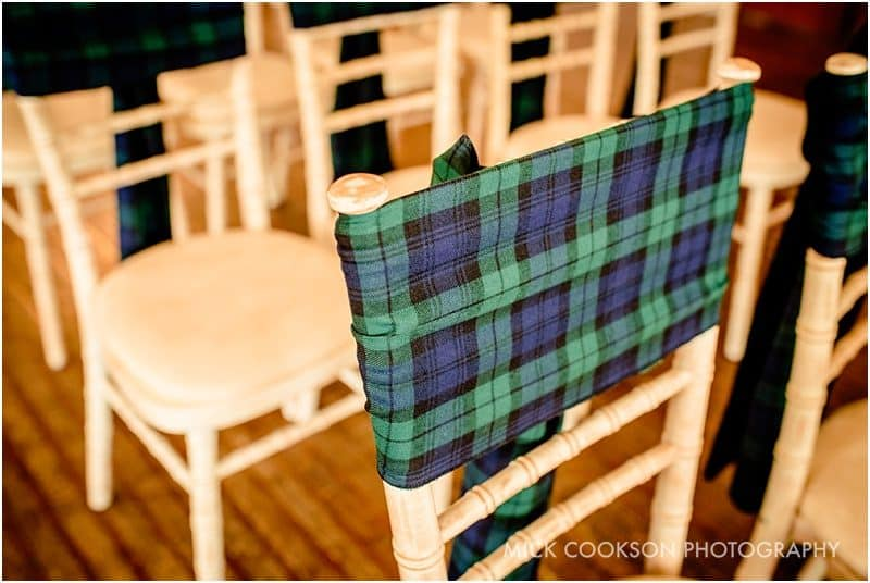 wedding tartan on chair backs