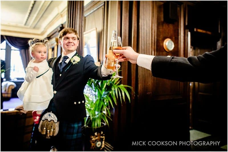 wedding toast in eaves hall reception