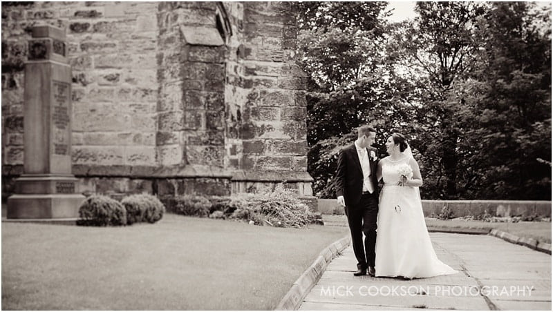 bride and groom at st leonard church