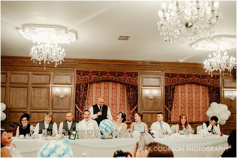top table at a wedding at the royal toby hotel