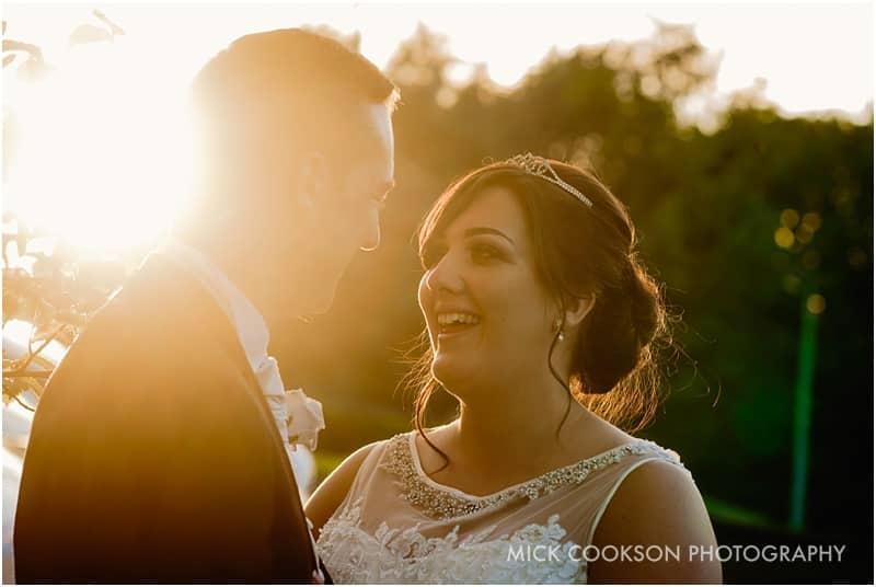 bride and groom sunset wedding photo at the royal toby hotel