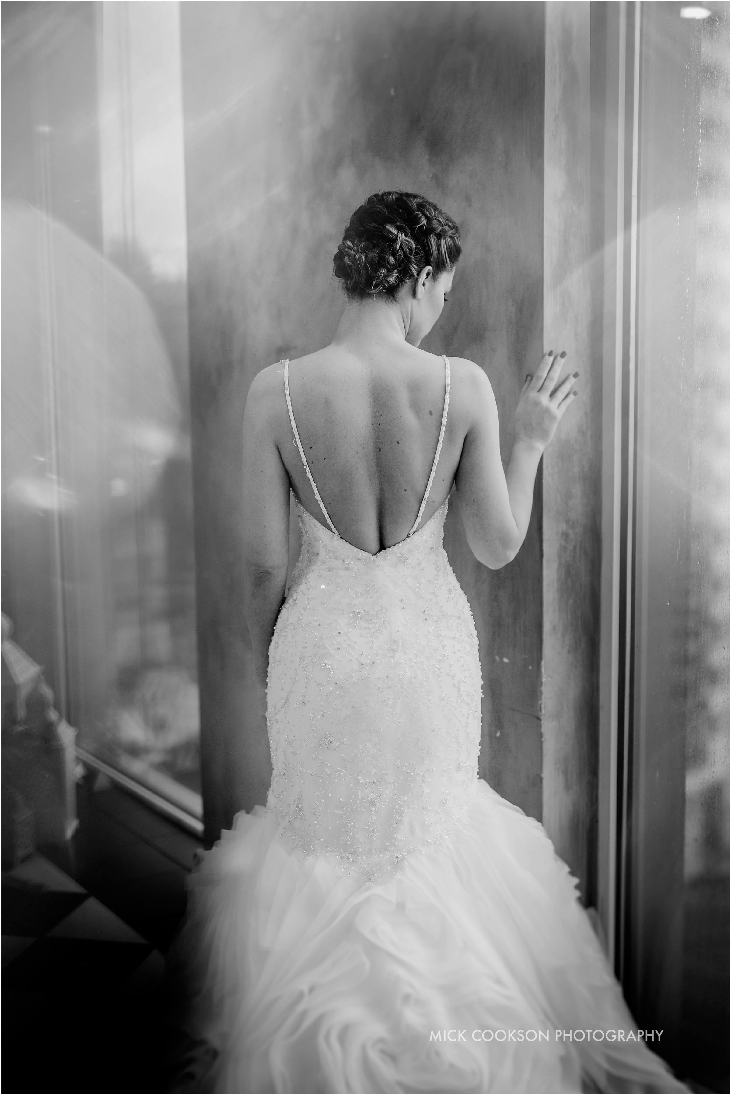 mono photo of bride at her on the 7th wedding