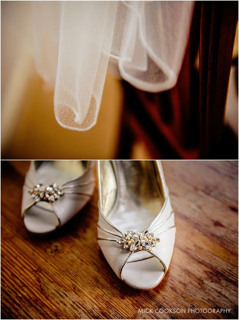 wedding shoes on a farm