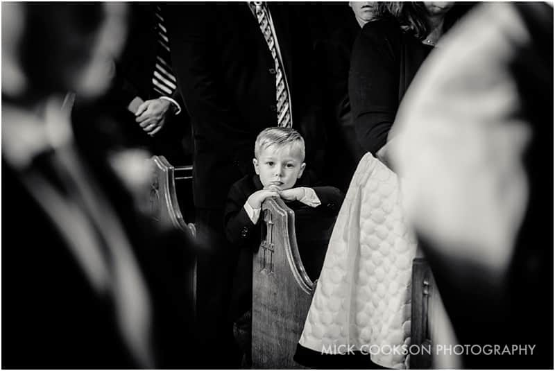 small boy at a wedding