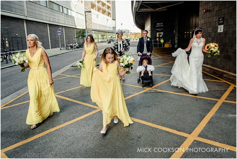 bridal party walking to on the 7th private members club