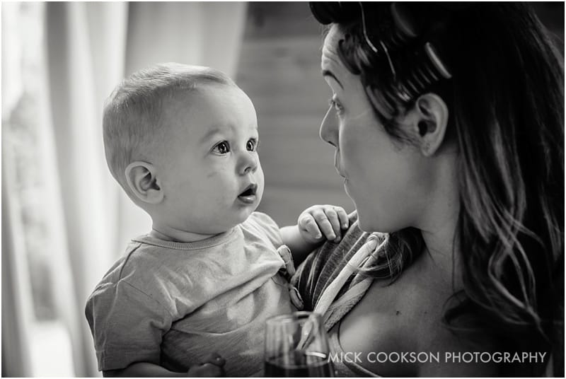 bride with her baby boy