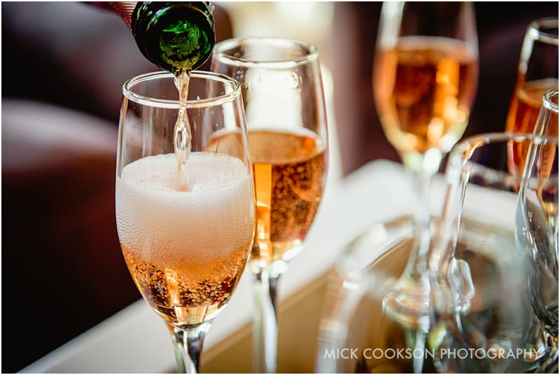 prossecco at a cheshire wedding