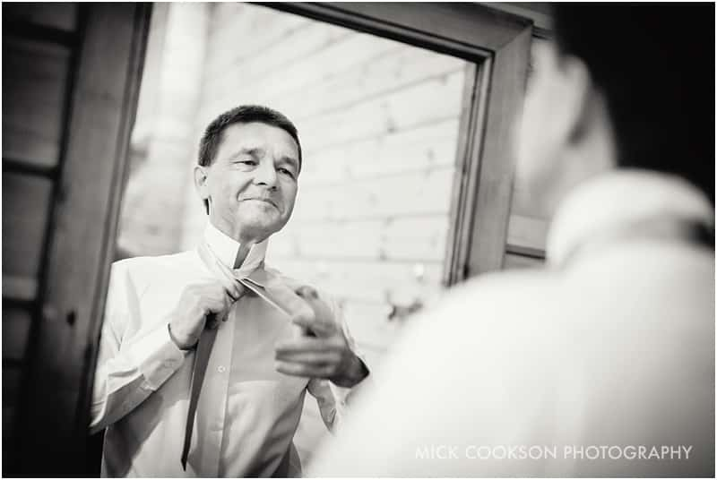 father of the bride getting ready at styal lodge