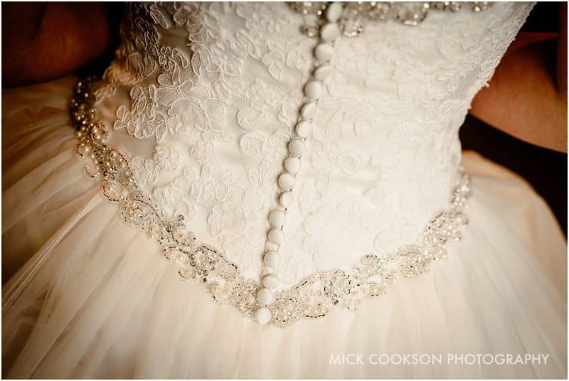 wedding dress detail in lancashire
