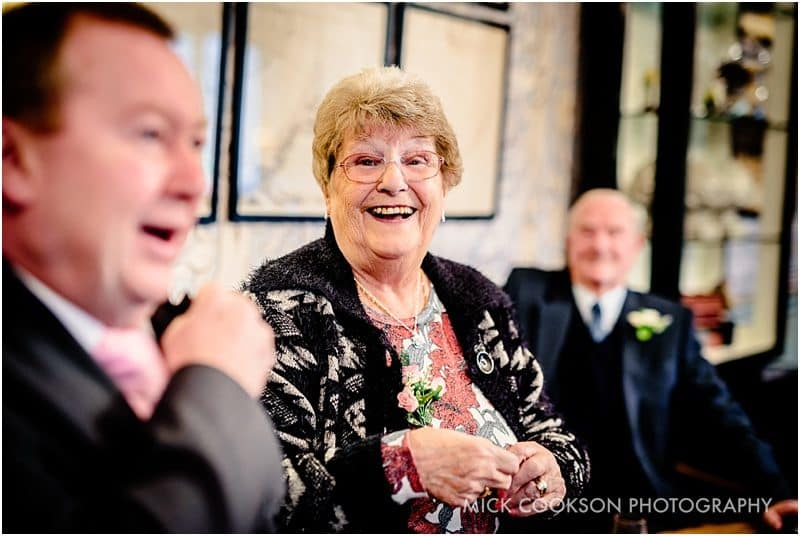 grandma smiling at a lancashire wedding