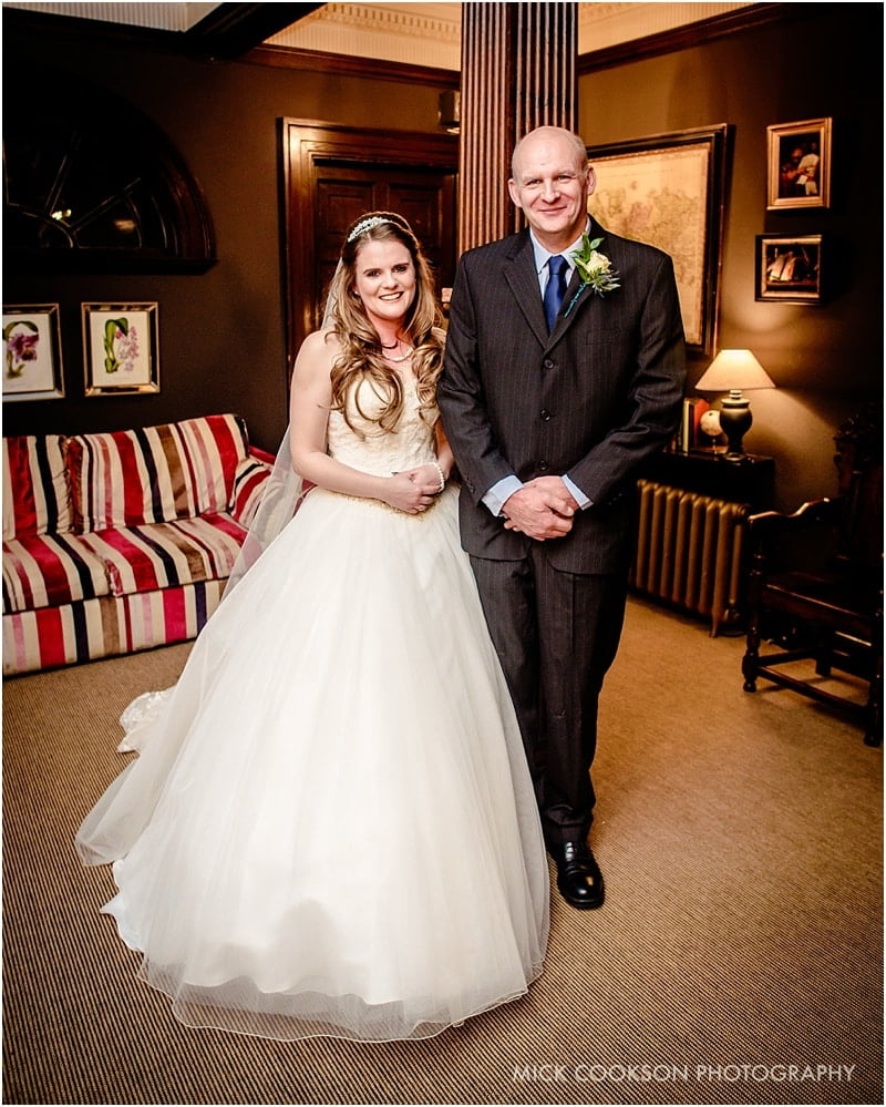 bride with her father at eaves hall