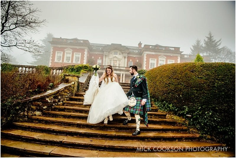 bride and groom at an eaves hall winter wedding