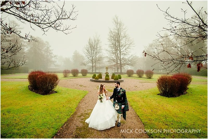 misty wedding photo at eaves hall