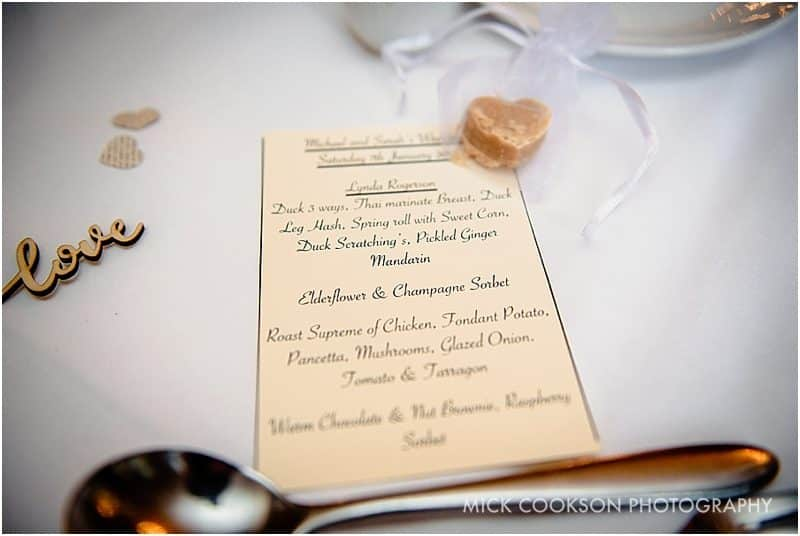 menu place at a ribble valley wedding