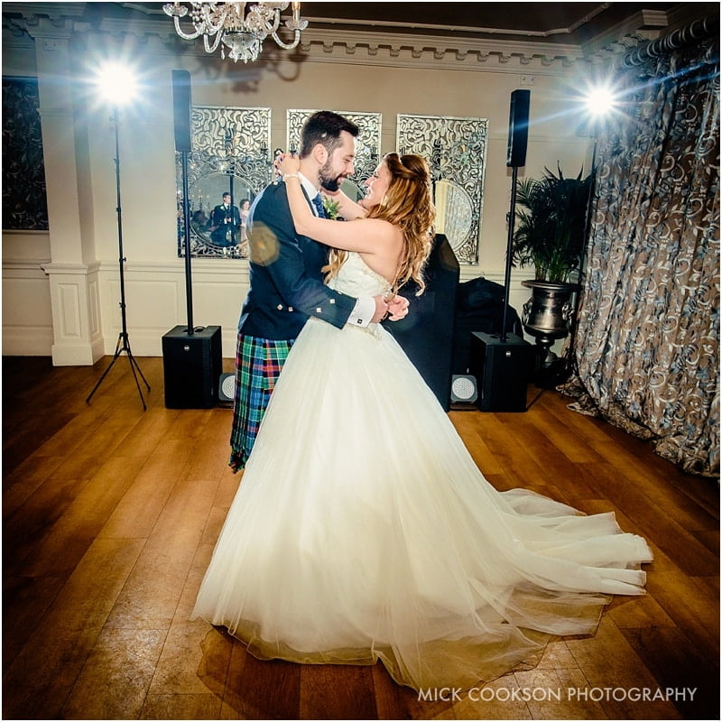 first dance at an eaveshall winter wedding