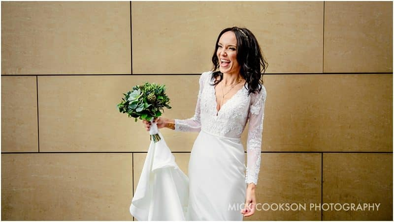 happy bride in media city