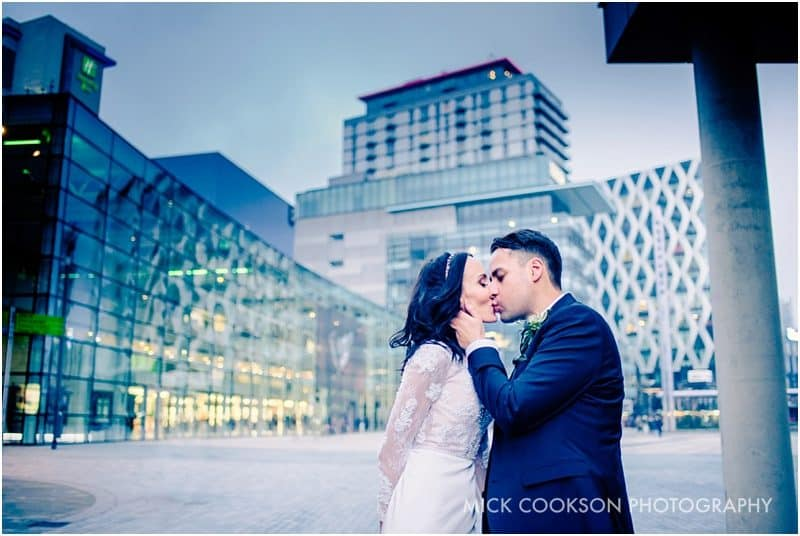 bride and groom in media city