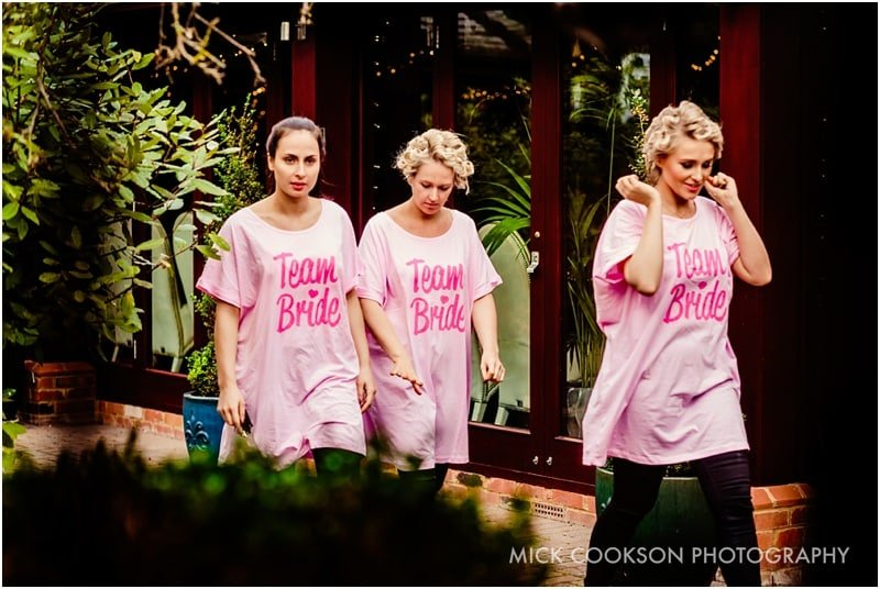 bride and bridesmaids in funky t shirts