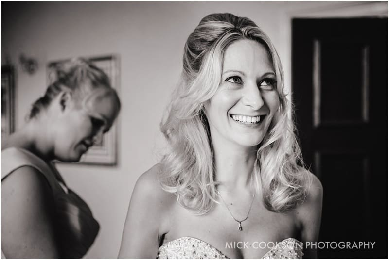 smiling bride getting ready