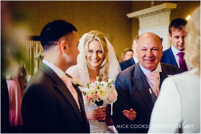 smiling bride at shrigley hall wedding