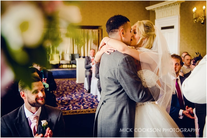 first kiss at a shrigley hall wedding