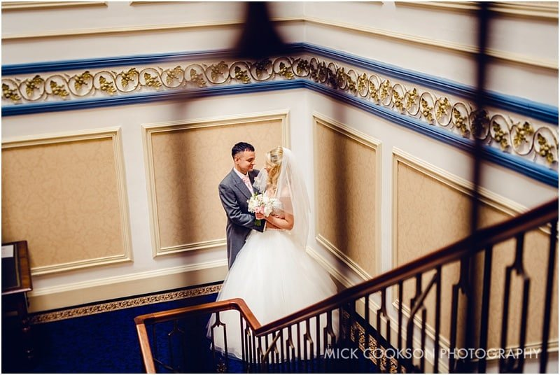 bride and groom portrait at shrigley hall