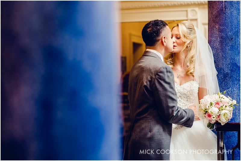 bride and groom kissing at shrigley hall
