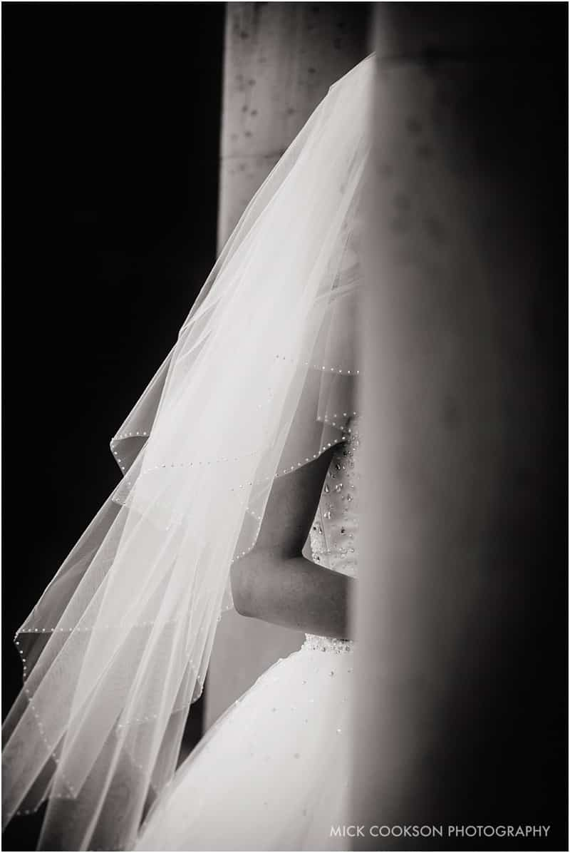 wedding dress detail at shrigley hall