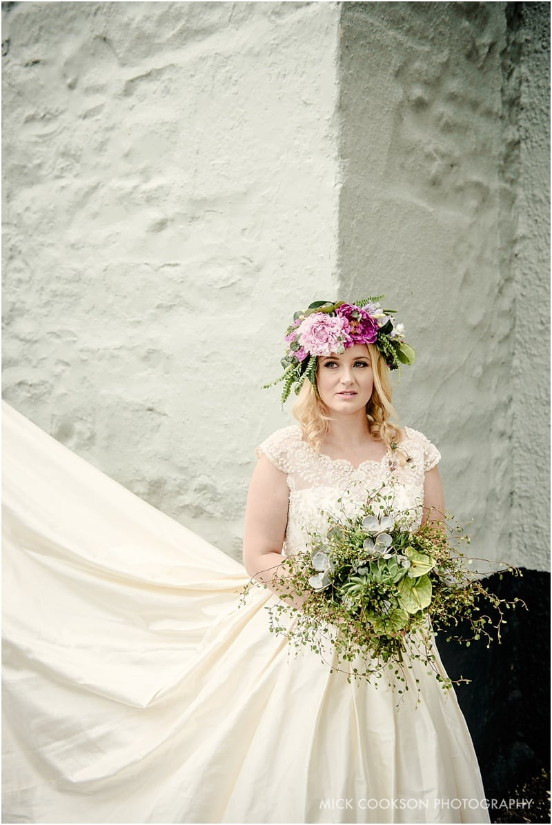 bride and her dress at the spread eagle