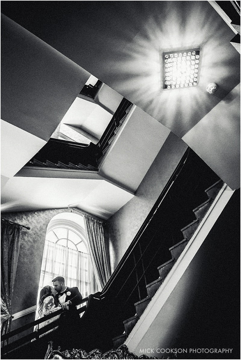 stylish photo of bride and groom at 30 James St hotel