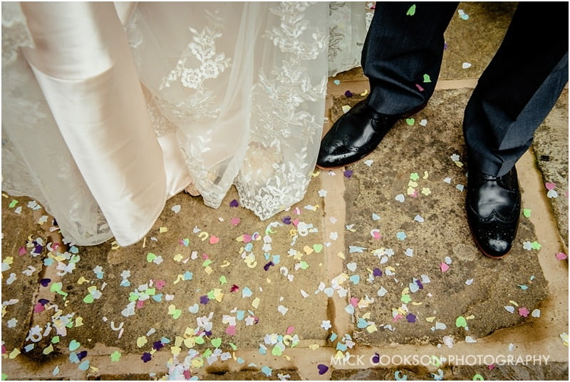 wedding confetti on the floor
