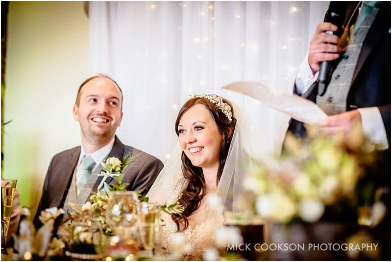 happy bride at speeches in beeston manor