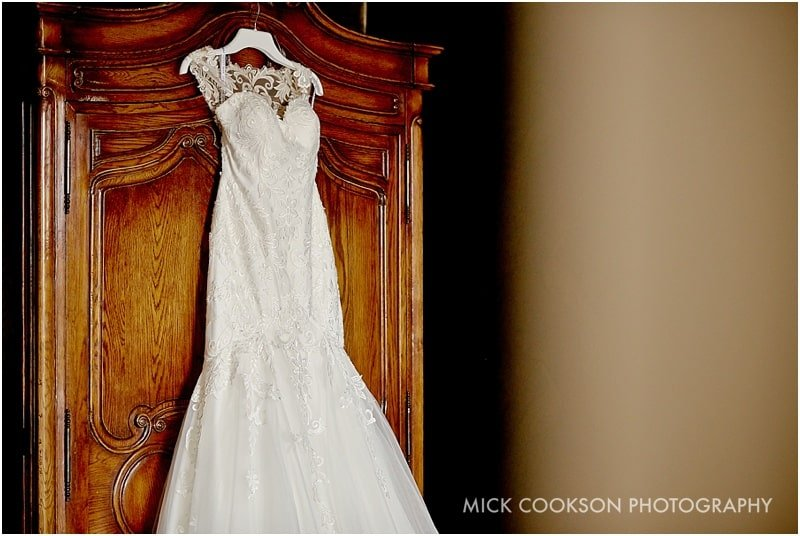 wedding dress at an eaves hall wedding