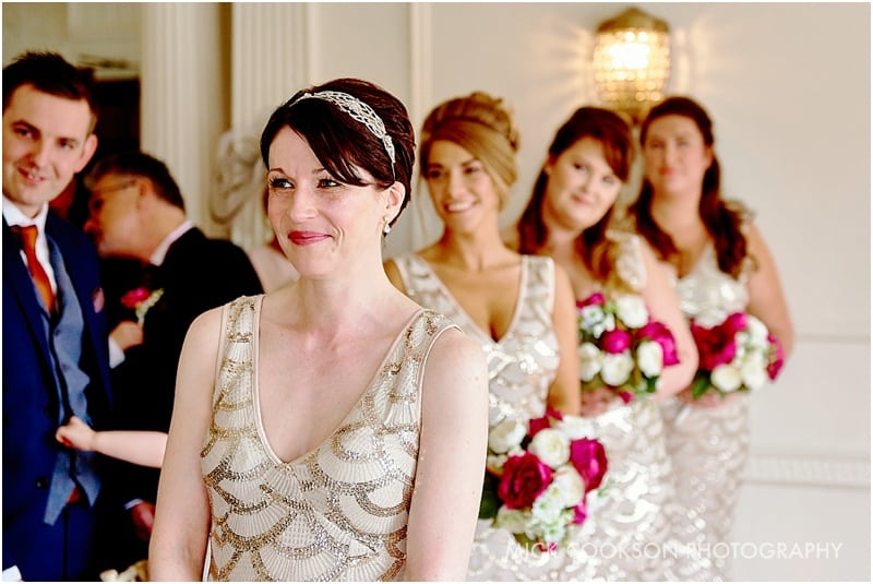 smiling bridesmaids at eaves hall