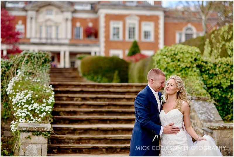 bride and groom at a spring wedding at eaves hall