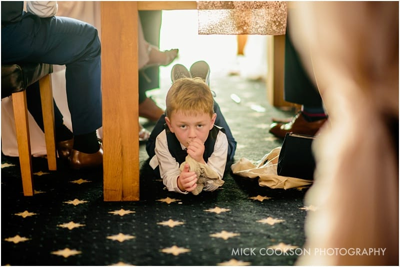 bored child at a wedding