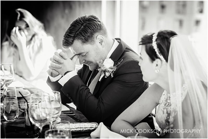 emotional groom at a wedding