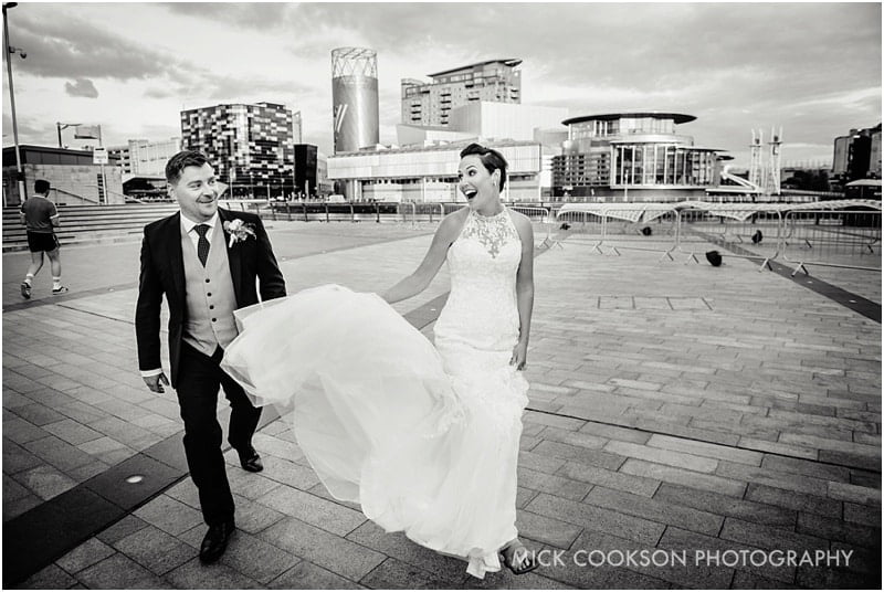 funky media city wedding