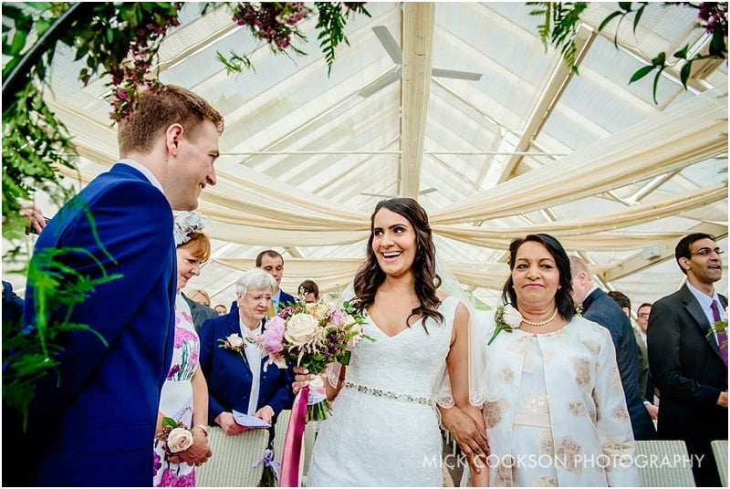 bride meets the groom at abbeywood estate gardens