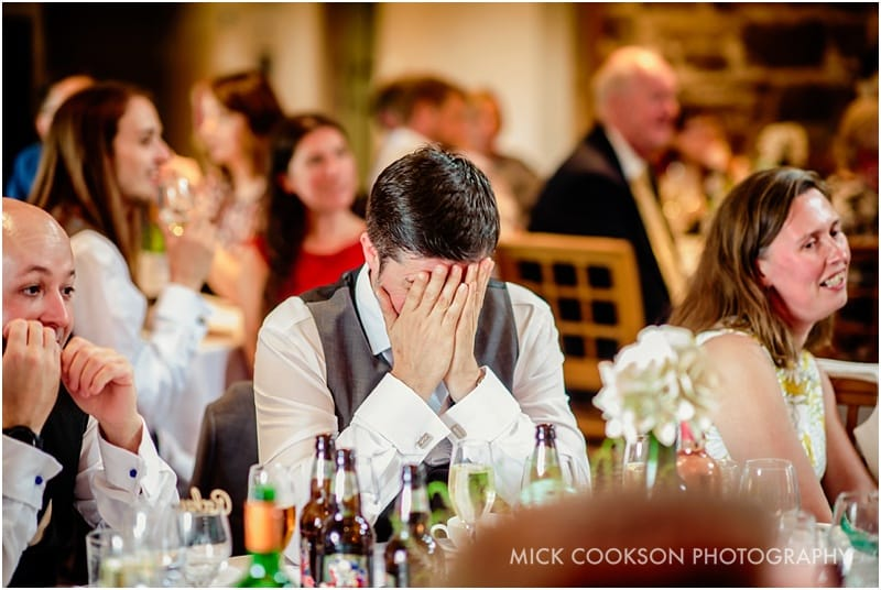 embarrassed wedding guest