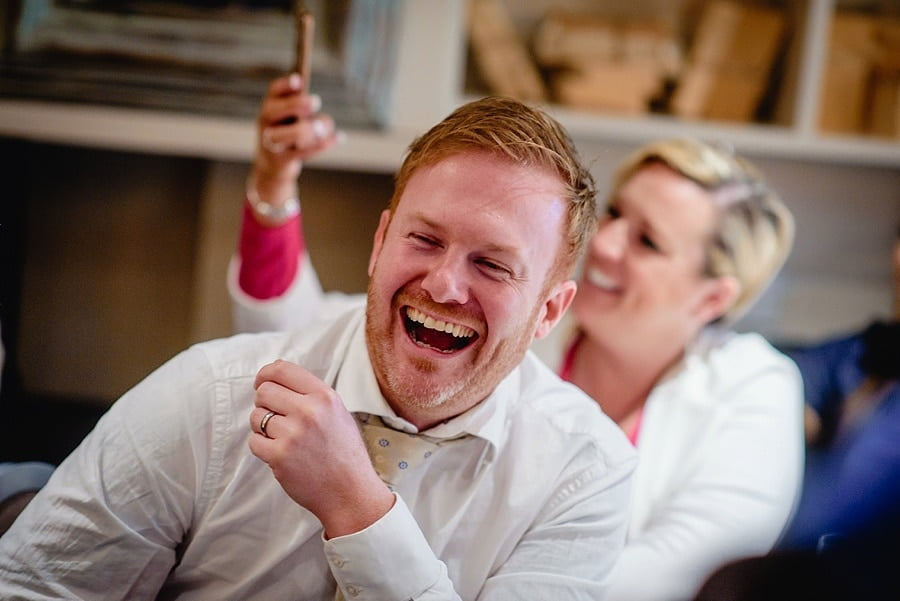 great john street hotel wedding guests laughing
