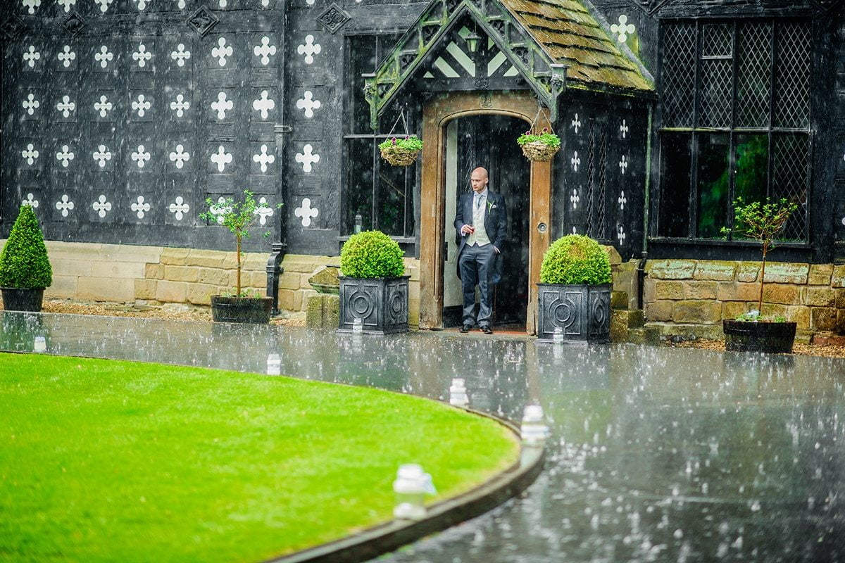 rainy day at a salmesbury hall wedding