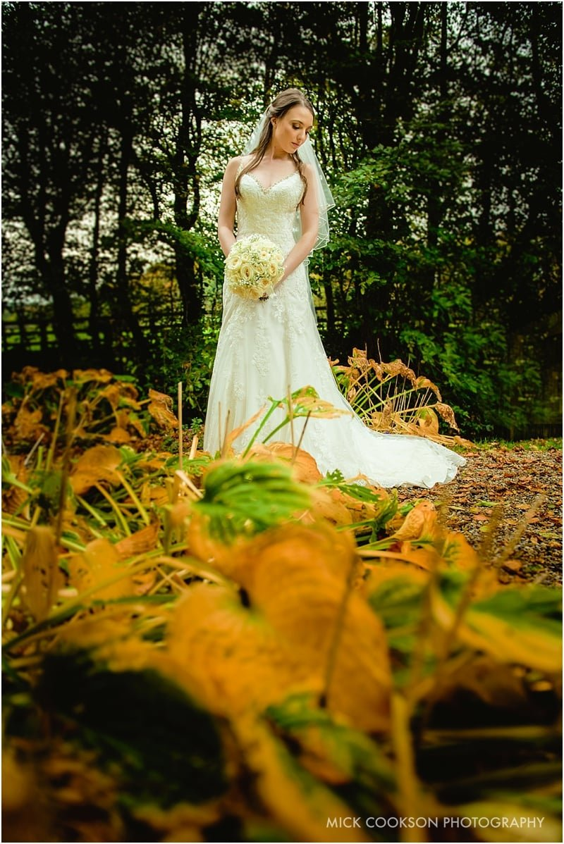 autumn bride photo at mitton hall