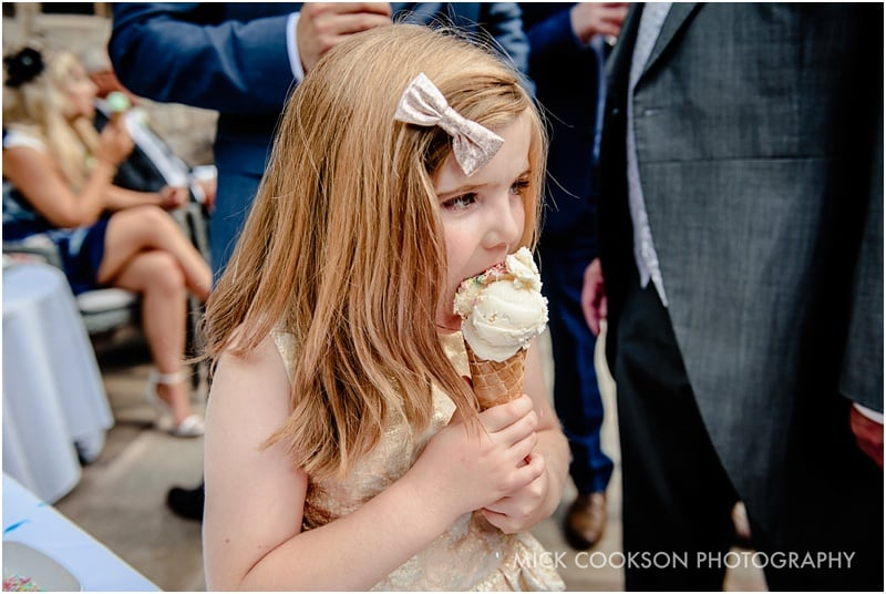 wedding guest eating ice cream
