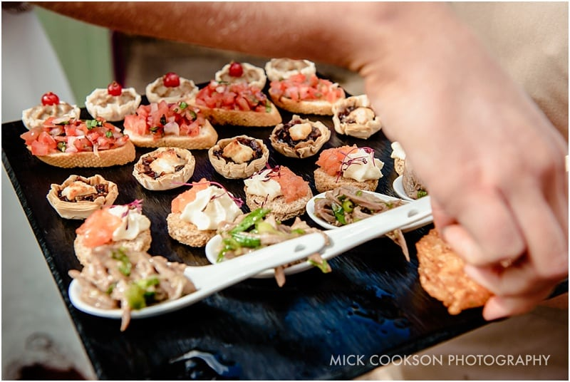 canapes at a rivington hall barn wedding