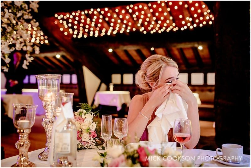 emotional bridesmaid at rivington hall barn