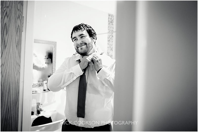 happy groom at charnock farm