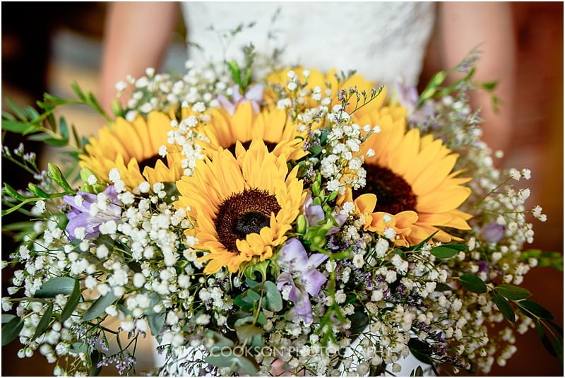 stunning sunflower wedding bouquet at charnock farm