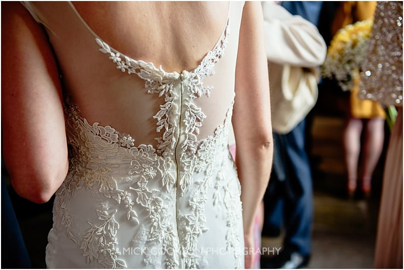 back of the wedding dress at charnock farm